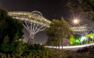 Tabiat Pedestrian Bridge in Tehran, Iran by I Diba Tensile Architecture